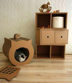 Diy katzenhaus aus einem alten karton mithilfe eines for Obi casetta lisa