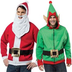 (Set) Christmas Santa Claus & Holiday Elf 3D Hoodies - Roomy Fit XL - Halloween costume