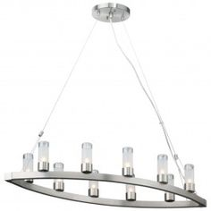Ten-light Chandelier in Satin Nickel finish with etched glass and clear top By Philips Forecast
