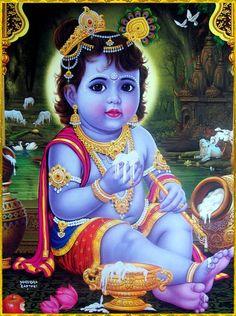 Baby Krishna with butter Krishna Lila, Little Krishna, Krishna Hindu, Krishna Statue, Jai Shree Krishna, Cute Krishna, Radha Krishna Images, Lord Krishna Images, Krishna Radha