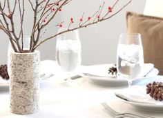 DIY Birch Vase Bring a bit of the natural outdoors into your holiday decor by creating a vase from a birch log. Cut the log to the height you want, and then drill a wide hole in the center with a tri-fluted drill bit. Sand the top and use as-is, like Julie Blanner did, or drop a glass vase inside to accommodate fresh arrangements that require water.