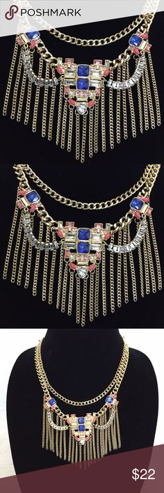 """SALE 🎄BCBG Glam Statement Boho Necklace Gorgeous gold tone multi faceted stone necklace. Delicate fringe chain necklace featuring, three layered tiers. Dark blue, coral and crystal multi faceted stones. Approximately 16"""" chain length with 3"""" extender + 5""""x3.5"""" drape. Lobster clasp closure. No Trades. TB1225. BCBGeneration Jewelry Necklaces"""