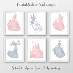 •• This is a DIGITAL DOWNLOAD item, NO PHYSICAL ITEM will be shipped to your address •• Disney princess - SET OF SIX - Cotton candy pink and dusty gray. •• You are getting 6 printables for the price of 3! •• DESIGNS YOU CAN CHOOSE FROM ARE: • Cinderella • Snow white • Elsa -