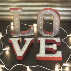 Marquee LED Light Metal (Grey) Love Sign Industrial Letters Battery Operated in Marquee Letters, Marquee Lights, String Lights, Valentine's Day, Love Signs, Globe Lights, Winter Garden, Love And Light, Battery Operated