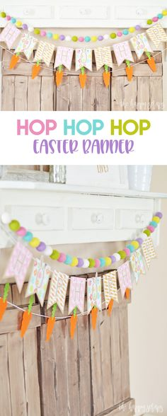 Home Decor Bohemian Add some pops of color to your Easter decor with this Hop Hop Hop Easter Banner.Home Decor Bohemian Add some pops of color to your Easter decor with this Hop Hop Hop Easter Banner. Easter Projects, Easter Crafts, Fun Projects, Fun Crafts, Cricut Tutorials, Cricut Ideas, Happy Easter Banner, Easter Decor, Easter Ideas