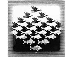 Cielo y agua  © M.C.Escher Utilizando diversos grados de blanco y negro, M. C. Escher dibuja peces y aves que se entrelazan