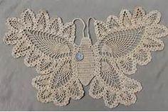 vintage pineapple pattern crochet lace butterfly, cotton thread doily ...