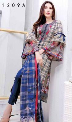 Frock fashion - Five Star Lawn 09 A Pakistani Fashion Casual, Pakistani Formal Dresses, Pakistani Dress Design, Pakistani Outfits, Stylish Dress Designs, Stylish Dresses For Girls, Simple Dresses, Casual Dresses, Girls Dresses Sewing