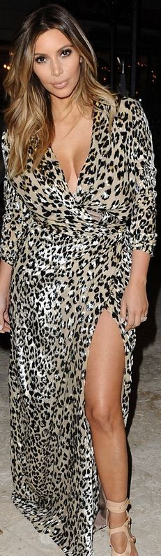 Who made  Kim Kardashian's nude sandals and leopard wrap maxi dress?