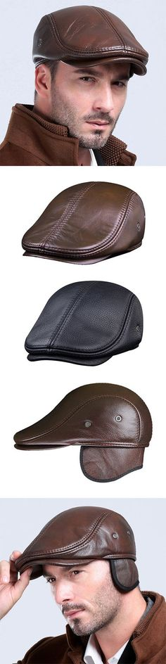 US$35.29 (49% OFF) Winter Fashion: Men Classic Cowhide Beret Hats With Ear Flaps / Casual Flat Caps With Ventilation Holes