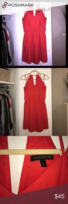 Banana Republic Sun Dress Fully lined, elastic waist, with pockets! In excellent like new condition. Removed material and care tag but it is 100% polyester & dry clean only. No rips or stains. Perfect summer staple! Banana Republic Dresses