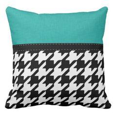 Black & White Teal Houndstooth Throw Pillows