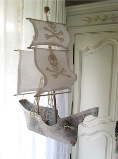 Sailing Ship in Papier Maché Pirate A by lilliputloft on Etsy