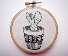 3 inch Hoop Art 'Cactus 10' Modern by CheeseBeforeBedtime on Etsy
