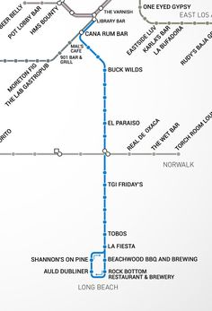 LA Metro Rail Map - Map With Bars Near Every Stop