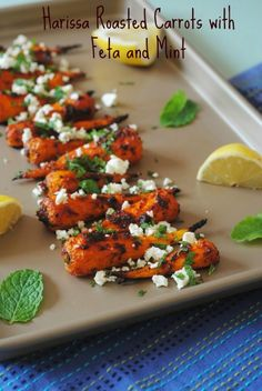 Harissa Roasted Carrots with Feta and Mint