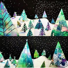 Second grade ~Learning how size helps create distance in landscapes. Used bleeding tissue, cut lots of triangles, added metallic marker branches, snowy ground and starry skies!Lovable distinguished metal crafts discover hereWinter trees showing dista Christmas Art Projects, Winter Art Projects, Kids Christmas Art, Winter Crafts For Kids, Christmas Tree, Kindergarten Art Projects, Kindergarten Learning, Winter Art Kindergarten, Kids Learning