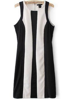 23.33 Black Sleeveless Vertical Stripe Slim Dress