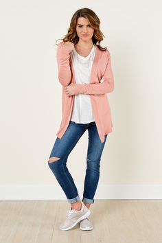 No matter where you find yourself, you're sure to get comfy and Stay For Awhile with this Pink Cardigan on! It'll have you so comfy, cute, and confident that you'll be in no hurry to go anywhere else! There'll be no desire to rush home and get out of your daytime clothes when they're this cool! This open cardigan features a ribbed hemline and cuffs. Model is wearing a small.  • 55% Cotton, 45% Rayon  • Hand Wash Cold • Unlined • Imported
