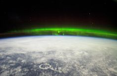 The Aurora Borealis or northern lights and the Manicouagan Impact Crater reservoir Northern Lights From Space, Aurora Borealis From Space, Earth's Magnetic Field, Seven Wonders, Natural Phenomena, Natural World, Sunrise, Landscape, Lush