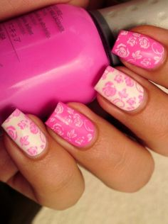 Pink Nail Art. I love it. Even if it's pink.