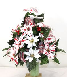 Beautiful Peppermint White Poinsettia's Christmas Cemetery Flower Arrangement, $39.99