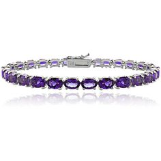 Glitzy Rocks Sterling Silver 12 1/2ct TGW African Amethyst Tennis... ($57) ❤ liked on Polyvore featuring jewelry, bracelets, purple, sterling silver bracelet, amethyst jewelry, purple amethyst jewelry, tennis bracelet and amethyst tennis bracelet