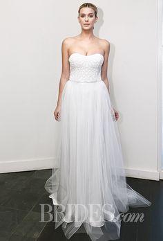 Brides.com: Nicole Miller - Fall 2015                          Wedding dress by Nicole Miller                                                                                  Photo: Thomas Iannaccone