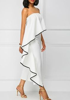 VAZN 2017 New Fashion Sexy Bodycon Frill Strapless Jumpsuit Summer Off Shouleder Jumpsuits Sexy Solid White Party Rompers Rompers Women, Jumpsuits For Women, Ruffle Jumpsuit, Strapless Jumpsuit, Bodycon Jumpsuit, Red Romper, Long Jumpsuits, African Dress, Dress Up