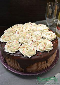 Tort cu crema de cappuccino si vanilie, reteta.Tort cu crema de cappuccino si vanilie.Tort cu crema de cappuccino si vanilie, Tort de ciocolata Sweet Desserts, Delicious Desserts, Romanian Desserts, Cake Decorating Classes, Dessert Bread, Dessert Drinks, Food Cakes, Something Sweet, Cake Cookies