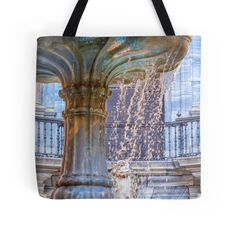"""""""Over Flowing Fountain"""" Tote Bags by Debra Martz 