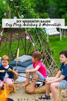Weidentipi with children build - how it works plus an unforgettable Housewarming Party - More is Now - GENUSSvolles Mama-Sein - Garden Backyard Playground, Backyard For Kids, Diy For Kids, Children Playground, Playground Design, Backyard Ideas, Housewarming Party, Backyard Garden Design, Backyard Landscaping