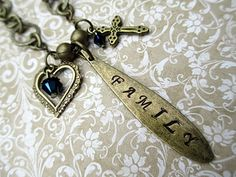 Family Metal Stamped Necklace Handmade Beaded by LittleBitsOFaith, $30.00