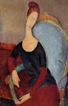 Portrait of Jeanne Hebuterne in a Blue Chair via Amedeo Modigliani    Size: 129.5x91.4 cm  Medium: oil on canvas