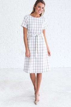 White plaid dress, cute outfit ideas for women, cute dresses for spring 2018