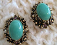 Turquoise Oval Clip Vintage 1960s Earrings Goldtone