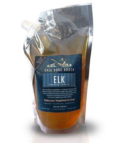 Our Elk bone broth is gelatinous and has a nice round sweet elk flavor. It's in an 18 oz. BPA Free spout pouch. It's 100% Grass Fed. It has No Antibiotics , Non-GMO, No Preservatives  No Salt Added, Gluten Free, Soy Free and it's made with Organic Vegetables & Herbs. https://eriebonebroth.com/collections/premium-bone-broth/products/elk-bone-broth