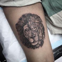 #liontattoo by @ellietattoo /// #Equilattera #tattoo #Tattoos #tattooed…