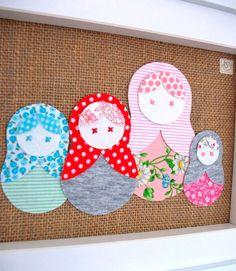 Etsy Transaction - Babushka Dolls Just Sitting Around--collage in fabric (framed & ready to ship)