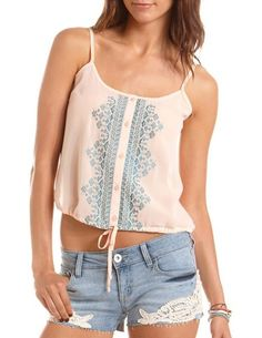 Embroidered Tie-Front Chiffon Tank