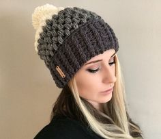 Ombre Puff Beanie in Charcoal Grey Heather Grey by ShopABCrochet