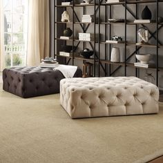 TRIBECCA HOME Knightsbridge Rectangular Linen Tufted Cocktail Ottoman with Casters - Overstock Shopping - Great Deals on Tribecca Home Ottomans