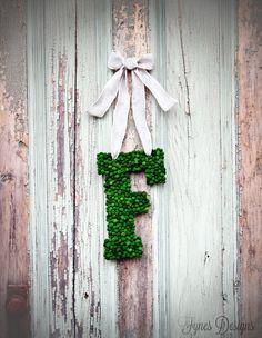 Easy Monogram Wreath #DIY monogram letter, green moss beads, ribbon,  hot glue