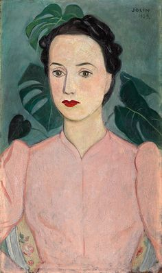 Einar Jolin (Swedish, 1890-1976), Damporträtt i skärt [Portrait of a woman in pink], 1939. Oil on canvas, 55x33
