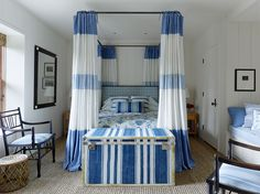 A Blue and White Cottage by Mark D. Sikes Mark D. Sikes in Marin County - Layers of texture, a mix of patterns and a cohesive color palette of blue and white are a tried and true recipe for a chic coastal home. Mark Sikes, White Bedroom Design, Coastal Bedrooms, White Cottage, White Rooms, Big Houses, White Decor, Architectural Digest, Home Decor Trends