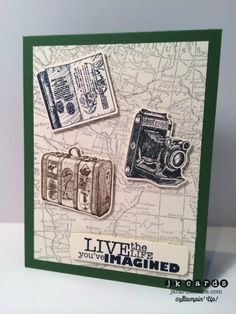 Justin's vintage card: Traveler, World Map, Really Good Greetings,  Word Bubbles framelits. All supplies from Stampin' Up!