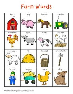 Writing Center Tools- Farm Words