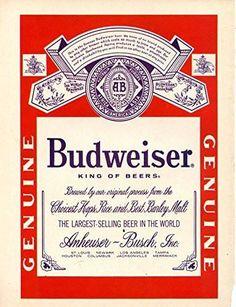 """Vintage Budweiser Beer Ad 1971- """"Budweiser King of Beers"""""""