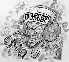 Smoking clown head with dice and money tattoo design clown face tattoo, fac Clown Face Tattoo, Jester Tattoo, Face Tattoos, Chicano Tattoos, Chicano Art, Lowrider, Tattoo Sketches, Tattoo Drawings, Good Clowns