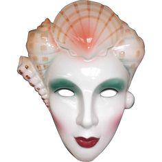 Here is a vintage ceramic 1986 Vandor, Pelzman Designs, Lady Face Mask with Seashells for hanging on the wall. This lovely lady with green eyes and